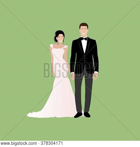 Couple Get Married, Happy Bride And Groom. Love Happy Wedding, Couple Woman And Woman Marriage Illus