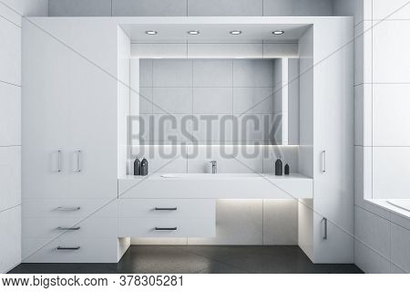 Clean White Bathroom With Mirror And Comfortable Washbasin. Style And Hygiene Concept. 3d Rendering