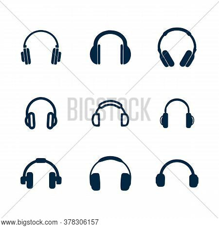 Black Line Headphones Icon Isolated On White Background. Earphones. Concept For Listening To Music,
