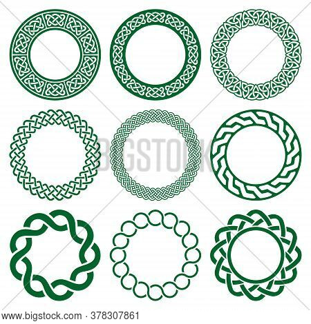 Irish Celtic Vector Mandala Frame Set, Green Braided Round Pattern - Greeting Card And Invititon Bac