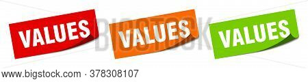 Values Sticker. Values Square Isolated Sign. Values Label