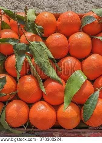 Box With Ripe Fresh Tangerines With Green Leaves Close-up. Top View. Vertical