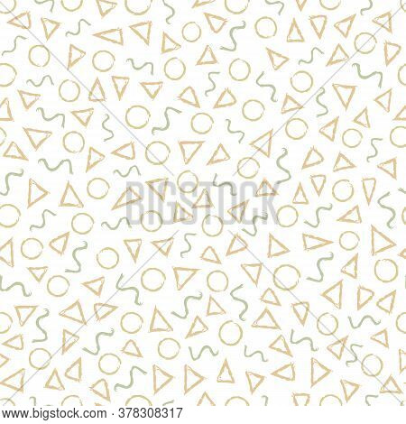 Vector Peach Green Gold Circles Triangles Squiggles On White Seamless Repeat Pattern. Background For
