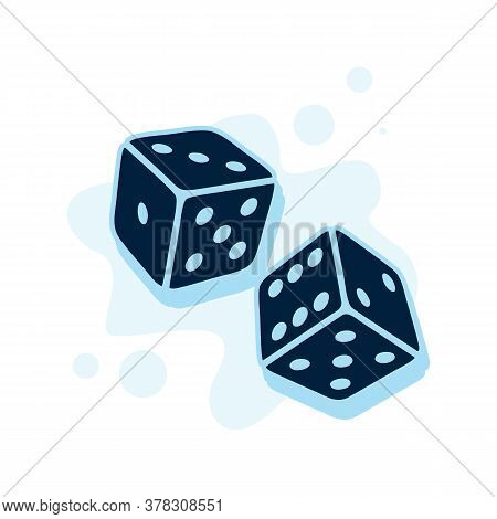 Two Dice Cubes. Dice With White Dots On A White Background. 3d Effect Vector Illustration.