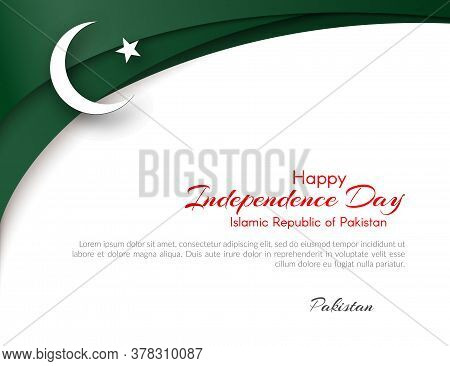 Pakistan Flag Theme Card With Waveform Ribbon Color Of The National Flag Of Pakistan Text Of Happy I