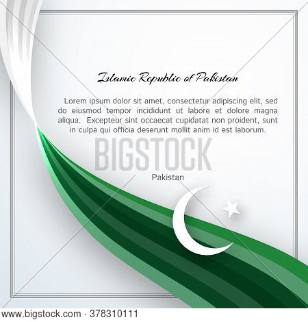 Islamic Republic Of Pakistan Flag Theme Card With Waveform Ribbon Color Of The National Flag Of Paki