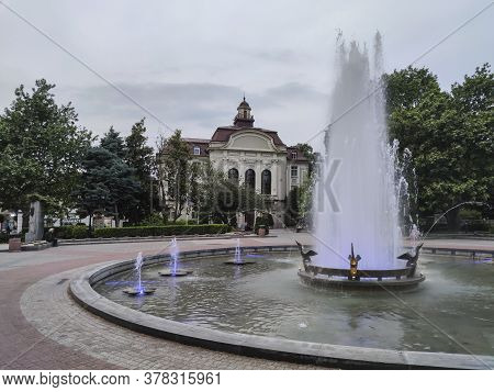 Plovdiv, Bulgaria - May 18, 2020: Fountain In Front Of Town Hall In City Of Plovdiv, Bulgaria
