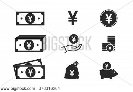Japanese Yen Banknotes, Coins, Cash And Money Icons. Financial And Banking Infographic Elements And