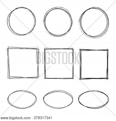 Vector Illustration Of Hand Drawning Circle, Oval, Square Line Sketch Set Isolated On Transparent Ba