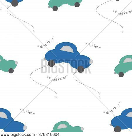 Funny Green And Blue Cars In The Shape Of A Cloud. With Car Noise. White Background. Seamless Patter