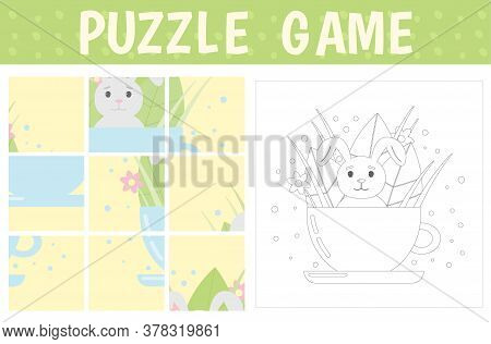 Puzzle Game: Rabbit In A Cup With Leaves And Flowers. Assemble A Picture From The Details. Color The