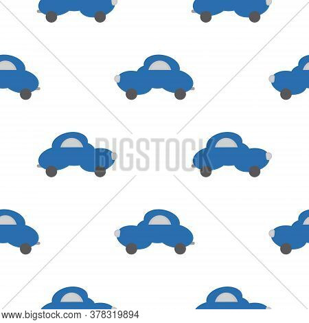 Funny Blue Car In The Shape Of A Cloud. White Background. Seamless Pattern For Kids. Vector Illustra