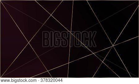 Red Premium Polygon Pattern. Elegant Dark Platinum Chic Shapes Border Gold Lines Triangular Luxury B