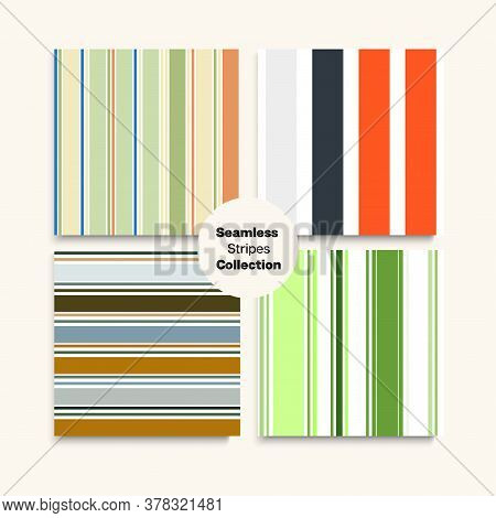 Sailor Stripes Seamless Texture Set. Modern Fashion Background Funky Lines Endless Design. Male Chil