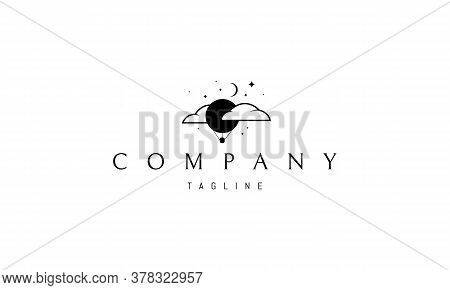 Vector Logo On Which An Abstract Image Of A Balloon Soaring In The Clouds Against The Background Of