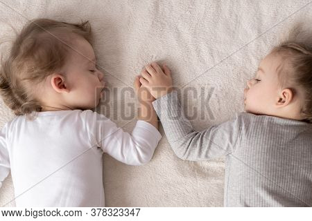 Childhood, Sleep, Relaxation, Family, Lifestyle, Sweet Dreams Concept . Two Young Kids 2 And 3 Years