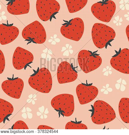 Modern Strawberry Seamless Pattern. Big Red Round Strawberry And Flowers On Pink. Large Bright Berri