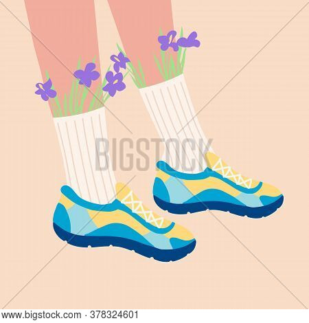Female Legs In The Sneakers. Cool Bright Sport Footwear. High Socks And Flowers. Hand Drawn Colored