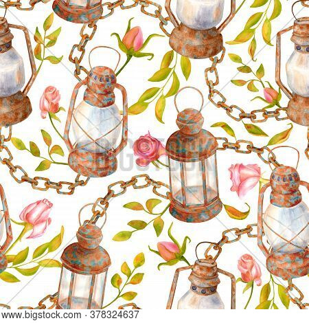 Watercolor Old Rusty Lamps, Chains, Leaves And Roses Seamless Pattern. Hand Drawn Vintage Kerosene L