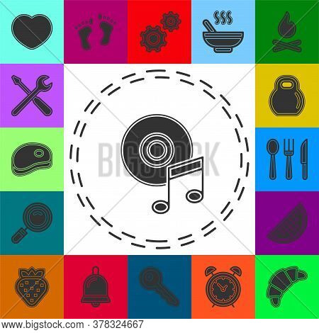 Music Note Dvd Button - Media Or Music Player - Multimedia Icon Vector. Flat Pictogram - Simple Icon