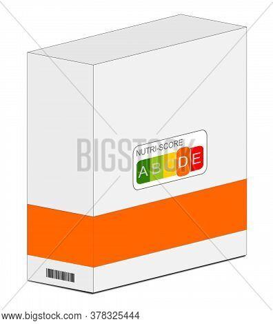 Nutri-score Label D On A Carton Orange, 5-colour Nutrition Label - 3d Illustration