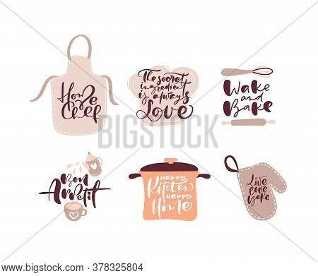Set Of Cooking Calligraphy Lettering Vector Quotes And Kitchen Items Logo For Food Blog. Hand Drawn