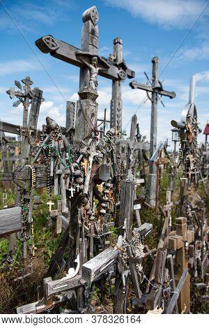 Siauliai, Lithuania - July 07, 2015: The Hill Of Crosses (kryziu Kalnas) In Siauliai, Lithuania, Eur