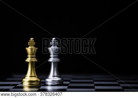 Two Stand Of Golden King Chess And Silver King Chess. Winner Of Business Alliance And Marketing Stra