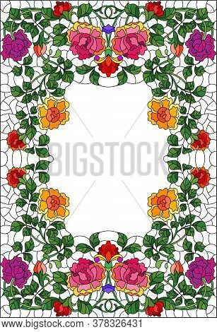 Illustration In A Stained Glass Style With Intertwined Branches Of Bright Roses Isolated On A White