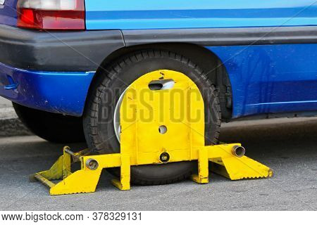 Wrong Parked Vehicle With Yellow Wheel Clamp