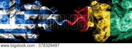 Greece Vs Guinea, Guinean Smoky Mystic Flags Placed Side By Side. Thick Colored Silky Abstract Smoke