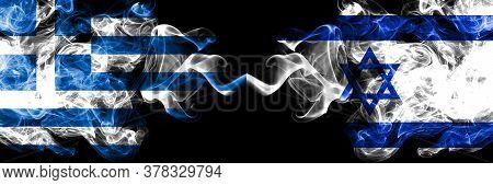 Greece Vs Israel, Israeli Smoky Mystic Flags Placed Side By Side. Thick Colored Silky Abstract Smoke