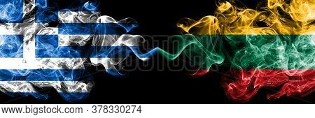 Greece Vs Lithuania, Lithuanian Smoky Mystic Flags Placed Side By Side. Thick Colored Silky Abstract