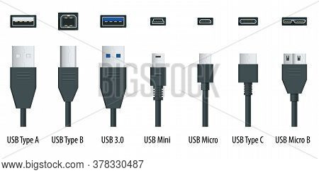 Flat Black Usb Types Port Plug In Cables Set With Realistic Connectors. Connector And Ports. Usb Typ