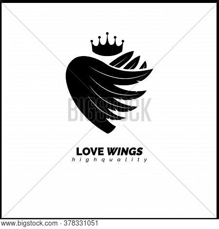 Heart Logo With Wings Inside. Safety Vector Logo. Care Logotype.