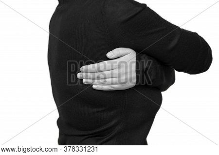 Pain In The Latissimus Dorsi In A Woman. Horizontal Black And White Photo, Isolated