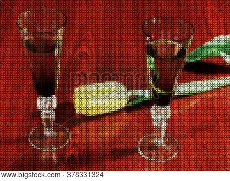 Illustrations. Cross-stitch. Two Elegant Glasses Of Wine And Delicate Yellow Tulip On A Dark Wooden