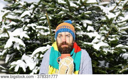 Guy Drinks Out Of Mug With Firtrees Covered With Snow