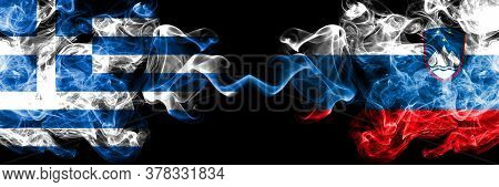 Greece Vs Slovenia, Slovenian Smoky Mystic Flags Placed Side By Side. Thick Colored Silky Abstract S