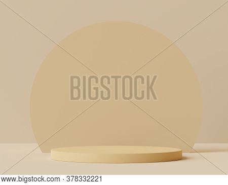 3d Rendering Of Empty Podium In Pastel Color. Blank Pedestal And Shopfront With Clean Design. Minima