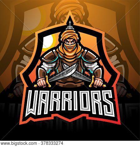 Warriors Esport Mascot Logo Design With Text