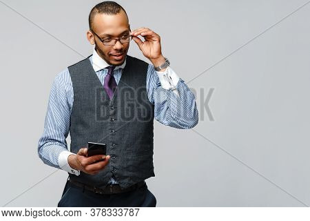 Professional African-american Business Man Talking On Mobile Phone