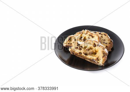 Christmas Stollen Fruit Slice Isolated On White Background. Copy Space