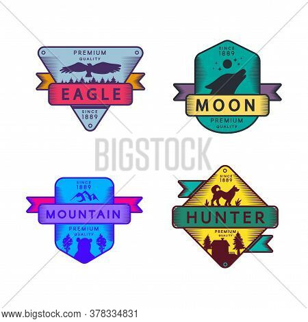 Fly Eagle And Hunter, Moon And Mountain Set Logo