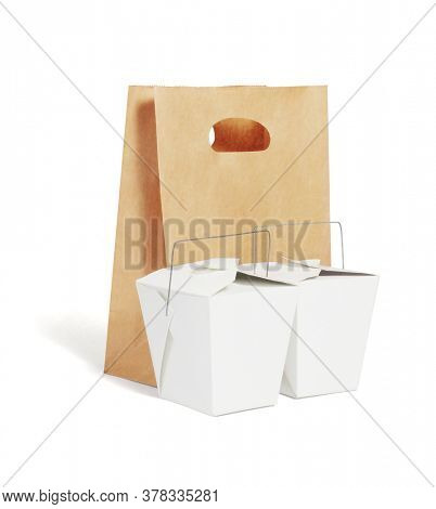 Takeaway Chinese Food Containers and Brown Paper Bag on White Background