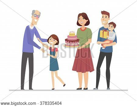Happy Birthday, Grandfather - Flat Design Style Illustration