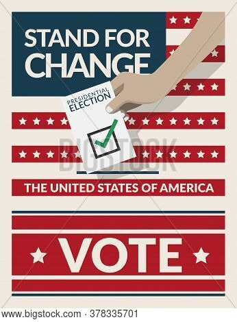 Us Presidential Election 2020 Campaign Poster Banner. Hand Putting Voting Ballot Paper Card In The B