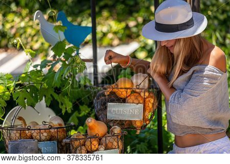 Healthy Woman Spending Summer day at Outdoor Farmers Market. Choosing Fresh Organic Food.