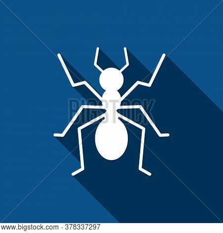 Ant Icon On Blue Background With Long Shadow. Vector Illustration