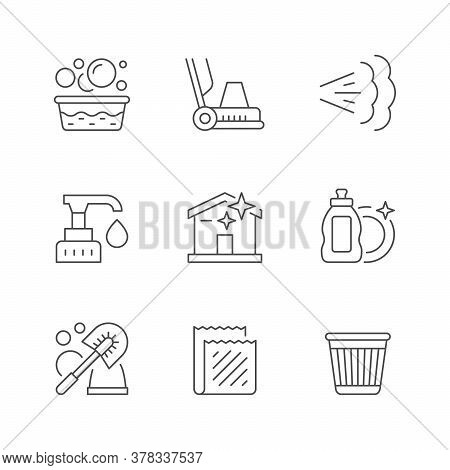 Set Line Icons Of Cleaning Isolated On White. Washing, Floor Cleaning Machine, Steam, Dispenser, Dis